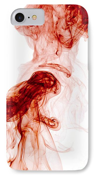Abstract Vertical Blood Red Mood Colored Smoke Wall Art 02 IPhone Case by Alexandra K