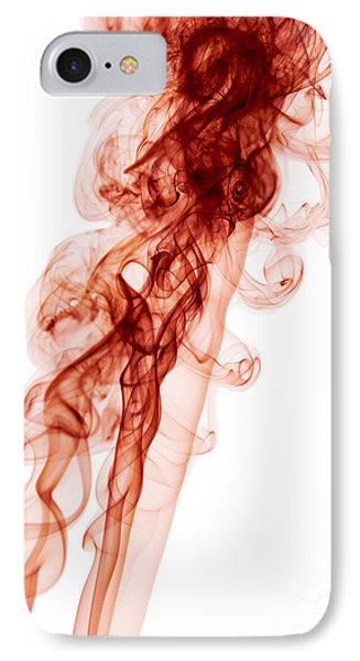 Abstract Vertical Blood Red Mood Colored Smoke Wall Art 03 IPhone Case by Alexandra K