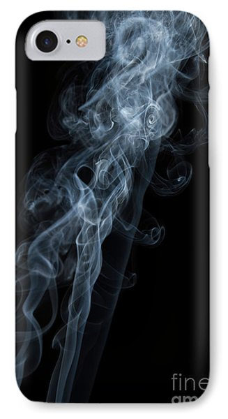 Abstract Vertical White Mood Colored Smoke Wall Art 01 IPhone Case by Alexandra K