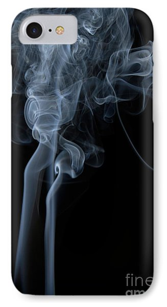 Abstract Vertical White Mood Colored Smoke Wall Art 02 IPhone Case by Alexandra K