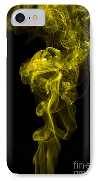 Mood Colored Abstract Vertical Yellow Smoke Wall Art 01 IPhone Case by Alexandra K