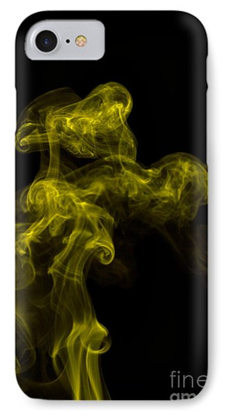 Abstract Vertical Yellow Mood Colored Smoke Wall Art 02 IPhone Case by Alexandra K