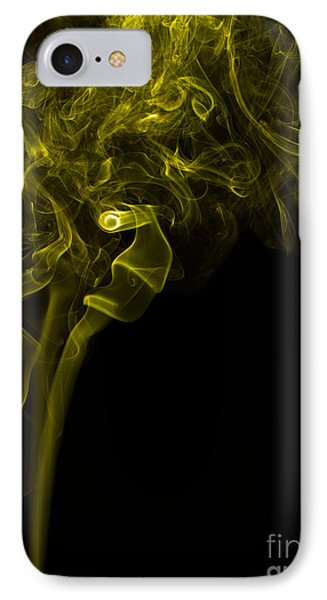 Mood Colored Abstract Vertical Yellow Smoke Wall Art 03 IPhone Case by Alexandra K
