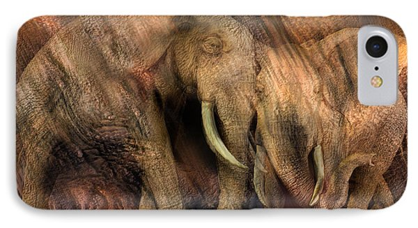 Moods Of Africa - Elephants IPhone Case by Carol Cavalaris