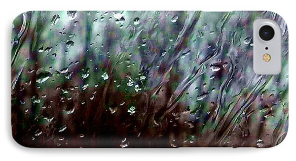 IPhone Case featuring the photograph Moody Blues Rain On The Window Series 2 Abstract Photo by Marianne Dow