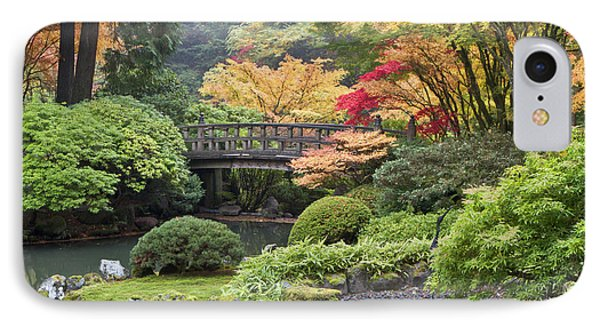 Moon Bridge And Autumn Colors, Portland IPhone Case by William Sutton