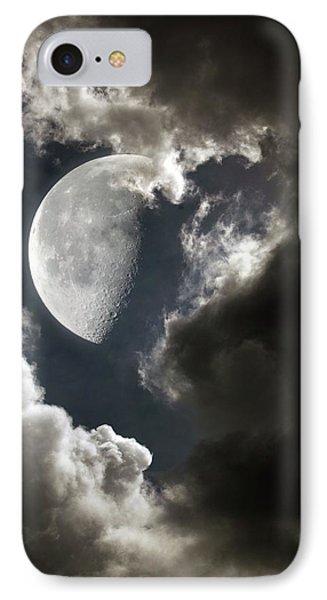Moon In Cloudy Sky IPhone Case by Detlev Van Ravenswaay