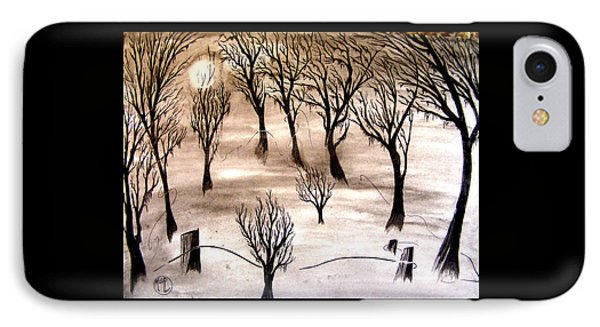 IPhone Case featuring the painting Moon Lit Fog by Justin Moore