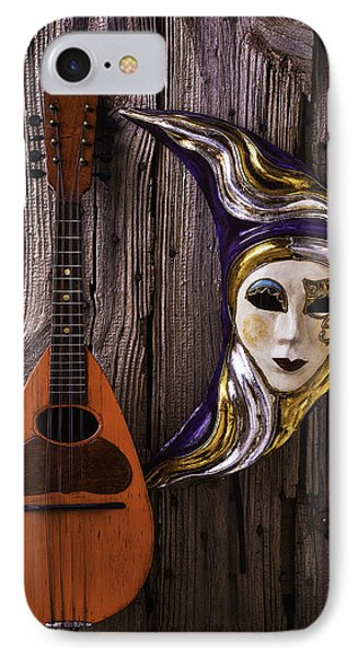 Moon Mask And Mandolin IPhone Case by Garry Gay
