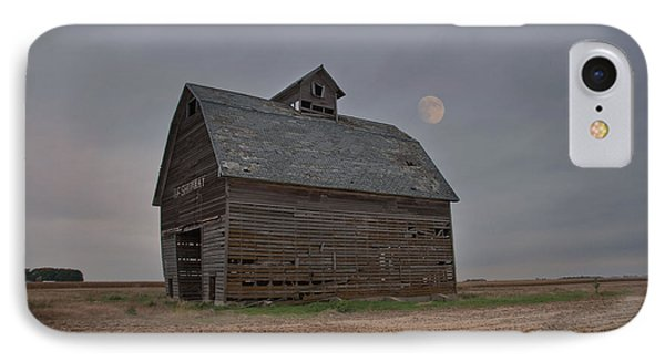 Moon Over Abandoned Iowa Corn Crib IPhone Case