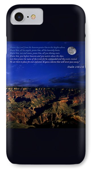 Moon Over Canyon With Psalm IPhone Case