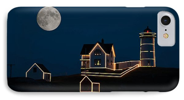Moon Over Cape Neddick Phone Case by Guy Whiteley