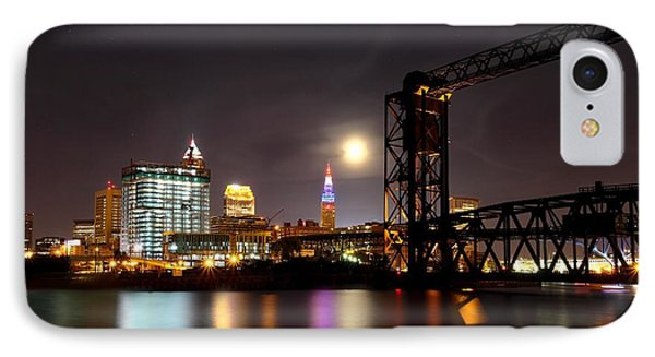 Moon Over Cleveland IPhone Case by Daniel Behm