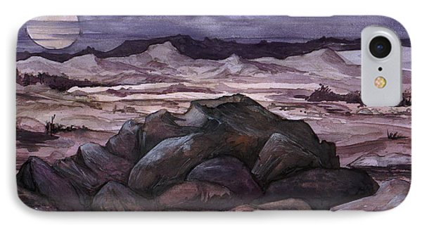 IPhone Case featuring the painting Moon Over Desert by Mikhail Savchenko