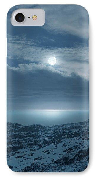 Moon Over Frozen Landscape IPhone Case by Detlev Van Ravenswaay