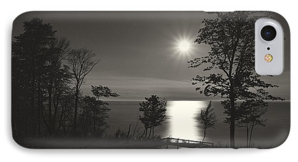 Moon Over Lake Michigan In  Black And White IPhone Case by Mary Lee Dereske