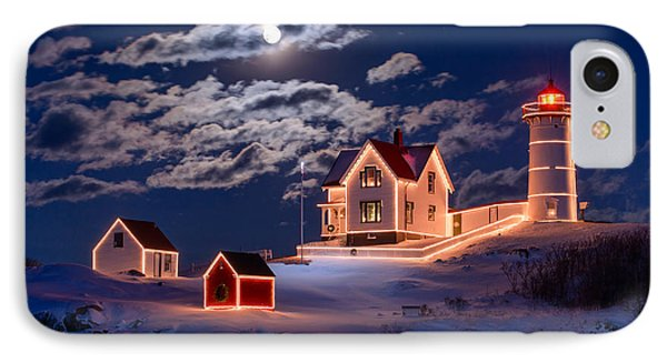Moon Over Nubble IPhone Case by Michael Blanchette