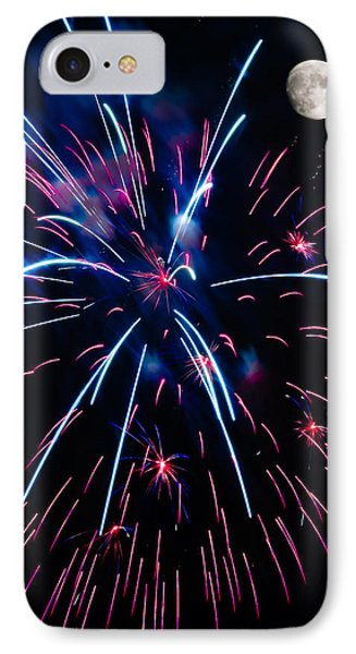 Moon Over Red White And Blue Starburst- July Fourth - Fireworks Phone Case by Penny Lisowski