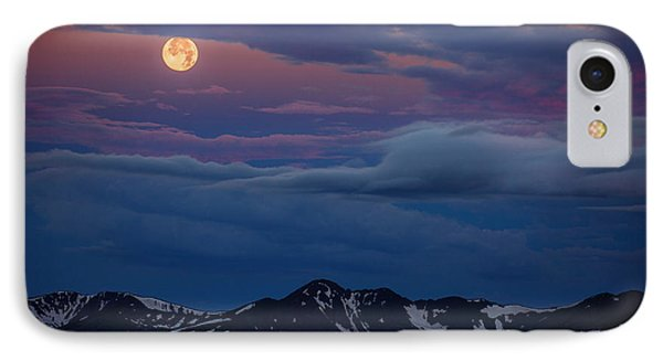 Moon Over Rockies IPhone Case by Darren  White