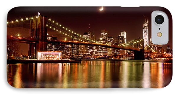 Moon Over The Brooklyn Bridge IPhone Case
