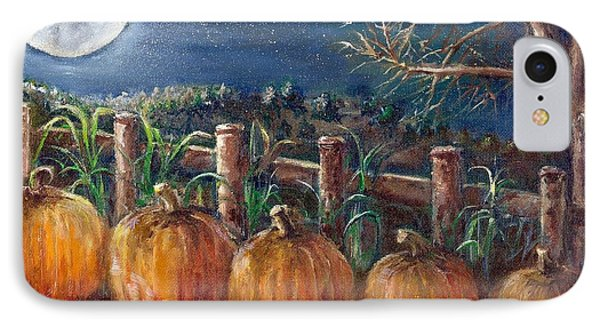 IPhone Case featuring the painting Moon Pumpkin Harvest by Bernadette Krupa