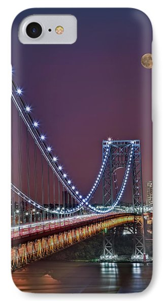 Moon Rise Over The George Washington Bridge IPhone Case by Susan Candelario