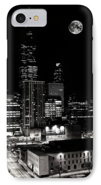 Moon Rise Over Willis Tower In Downtown Chicago IPhone Case by Jennifer Rondinelli Reilly - Fine Art Photography