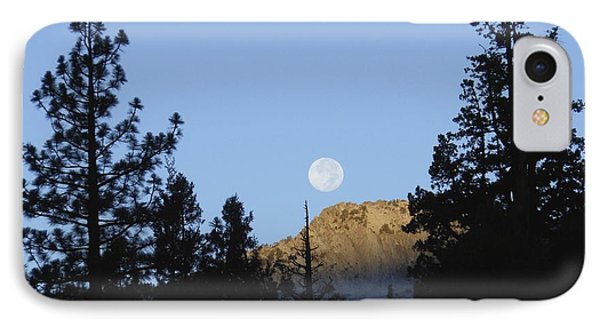 Moon Setting In Pines At Sunrise IPhone Case