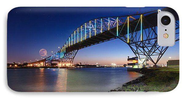 Moon Setting Over Corpus Christi Bridge IPhone Case by Richard Mason