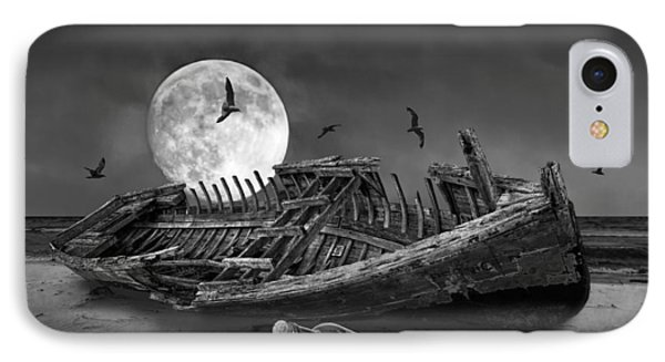 Moon Shipwreck IPhone Case by Randall Nyhof