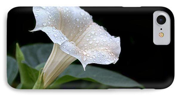 Moonflower - Rain Drops IPhone Case by Nikolyn McDonald