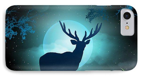 Moonlight Elk IPhone Case by Bedros Awak