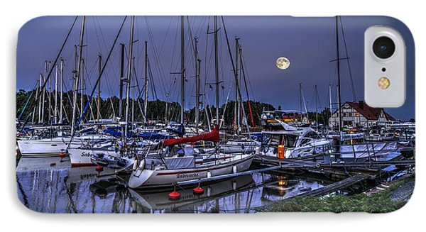 Moonlight Over Yacht Marina In Leba In Poland IPhone Case by Julis Simo