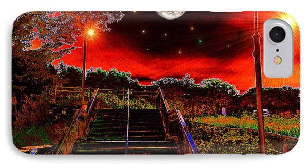 IPhone Case featuring the digital art Moonlight Stairs by Michael Rucker