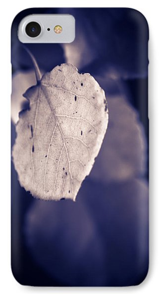 IPhone Case featuring the photograph Moonlit Aspen Leaf by Dave Garner