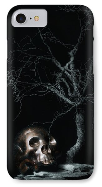 Moonlit Skull And Tree Still Life IPhone Case by Tom Mc Nemar
