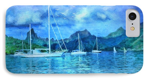 IPhone Case featuring the digital art Moonrise In Mo'orea by Lianne Schneider