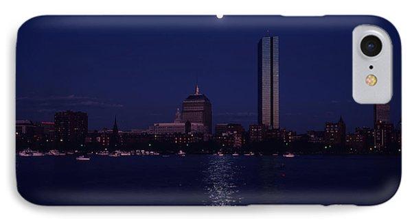 Moonrise Over Boston Skyline July 1982 Phone Case by Thomas Marchessault