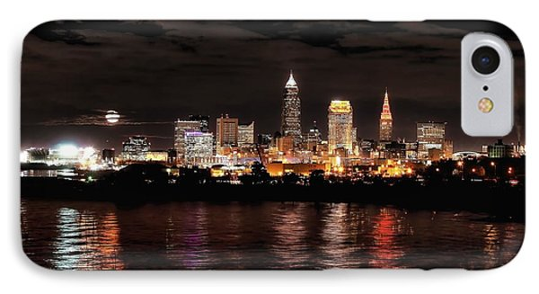 Moonrise Over Cleveland Skyline IPhone Case by Daniel Behm