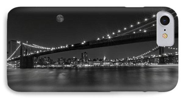 Moonrise Over Manhattan Bw IPhone Case by Susan Candelario