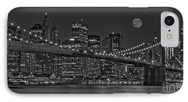 Moonrise Over The Brooklyn Bridge Bw Phone Case by Susan Candelario