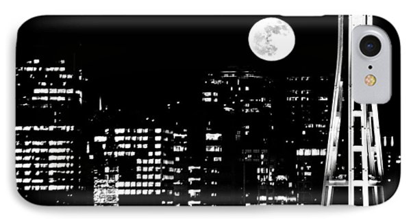 Moonrise Seattle Phone Case by Benjamin Yeager