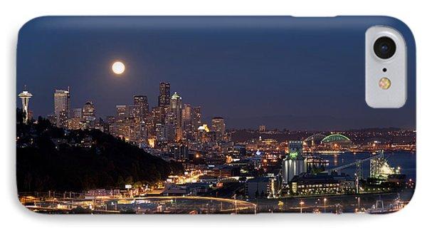 Moonrise Seattle Skyline IPhone Case by Jim Corwin
