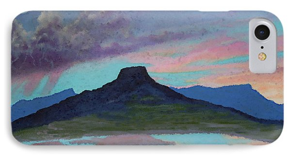 IPhone Case featuring the painting Moonrise With Thunderstorm Over Abiquiu Lake And Pedernal Mountain by Anastasia Savage Ealy