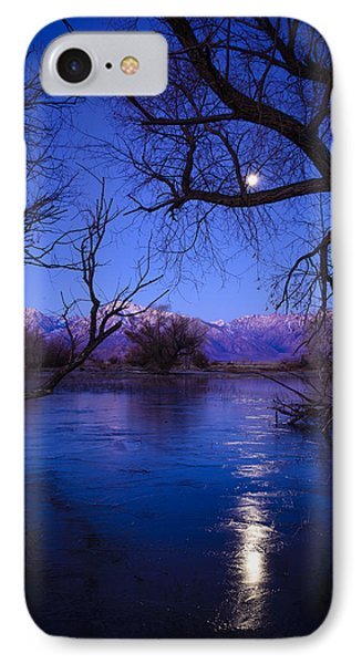Moonset On Farmers Pond IPhone Case