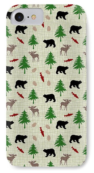 Moose And Bear Pattern IPhone Case by Christina Rollo