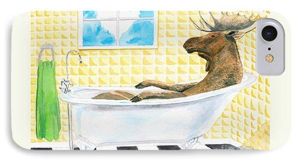 Moose Bath Phone Case by LeAnne Sowa