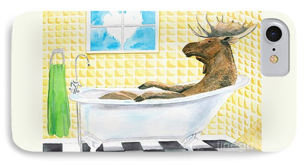 IPhone Case featuring the painting Moose Bath by LeAnne Sowa