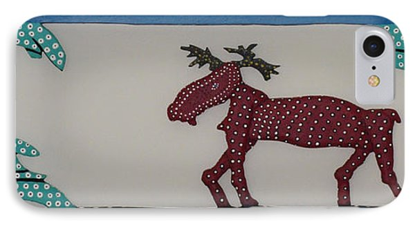 IPhone Case featuring the sculpture Moose Coming Home For Christmas by Robert Margetts
