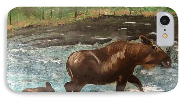 IPhone Case featuring the painting Moose Crossing by Matthew Griswold